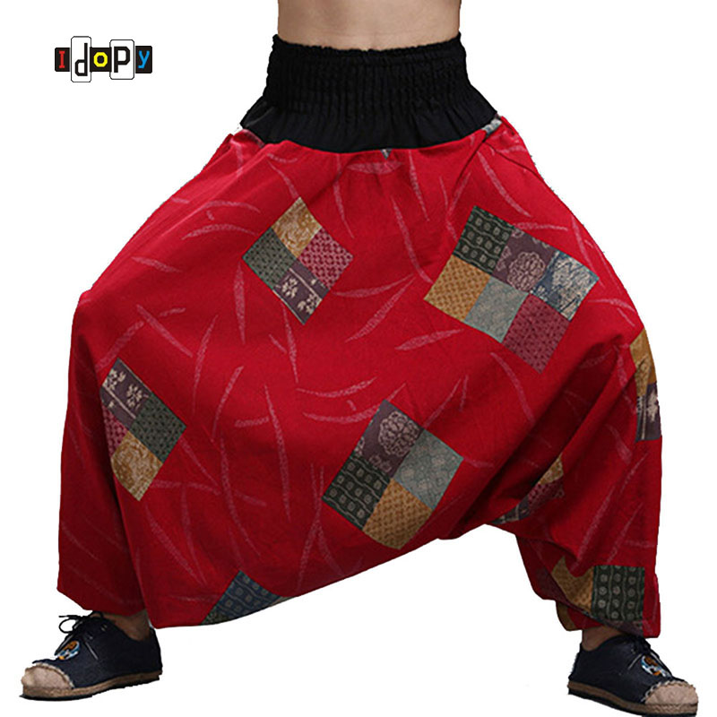 Trousers Harem-Pants Slacks Loose Fit Cotton Linen Vintage Drop-Crotch Chinese-Style