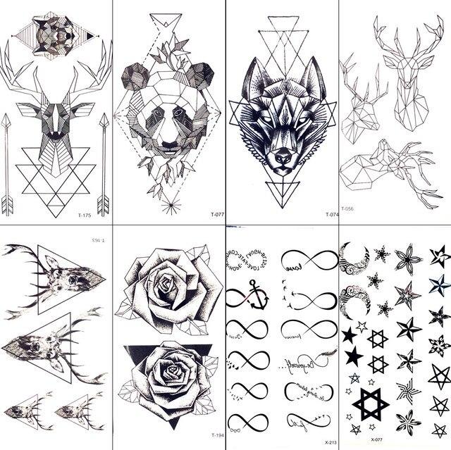 Geometrique Moose Elk Fleche Temporaire Tatouage Panda Femmes Main