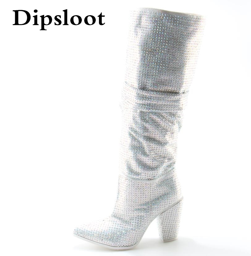 Newest Luxury Crystal Women Pointy Toe Knee High Boots Sexy Chunky Heel Boots Slip On Ladies Knight Boots Rhinestone Boots 2018 new suede leather patchwork women flodover mid calf boots sexy pointy toe ladies blade heel boots zipper knight boots