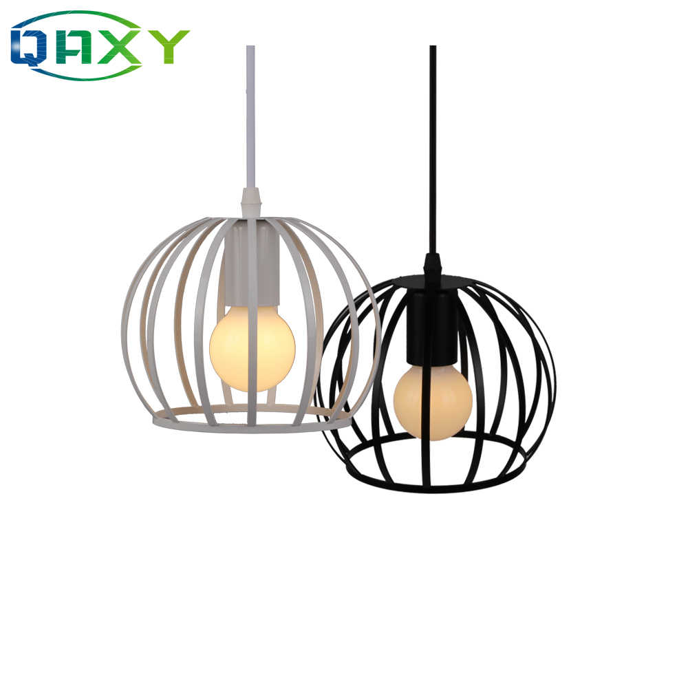 E27 Black&White Iron Round Cage Pendant Lights Adjustable Length Hanging Lamp Droplight Dinning Room Suspension Luminairs[D3503]