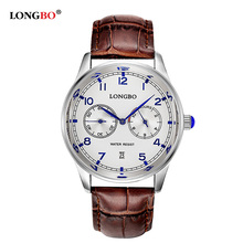 LONGBO Luxury Brand Men Genuine Leather Quartz Watch Analog Men s Military Waterproof Calendar Wristwatch Relogio