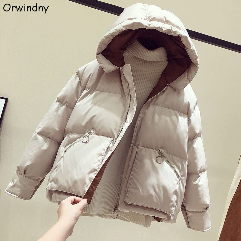 Orwindny Women Winter Loose   Parkas   Thickening Warm Coat Hooded Female Cotton-padded Short Jacket