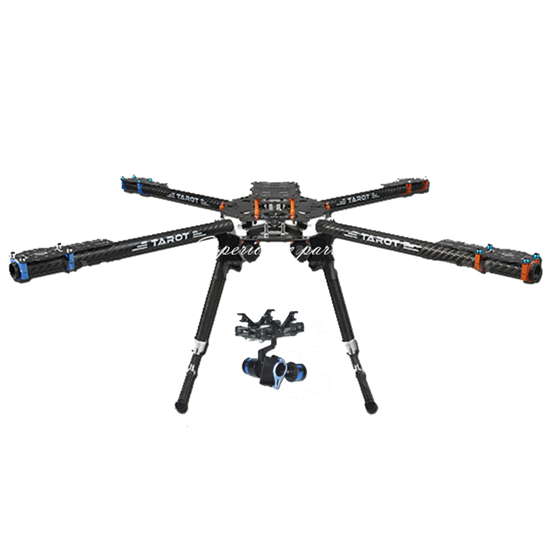 Tarot FY650 3K Pure Carbon Fiber Folding 650mm FPV Quadcopter Frame TL65B01 with 2 Axis BGC TL68A00 Brushless Gimbal T-2D