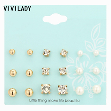 VIVILADY Romantic Cute 9 Pairs set Imitation Pearls Metal Balls Crystal Nickel Free Stud Earrings Femme