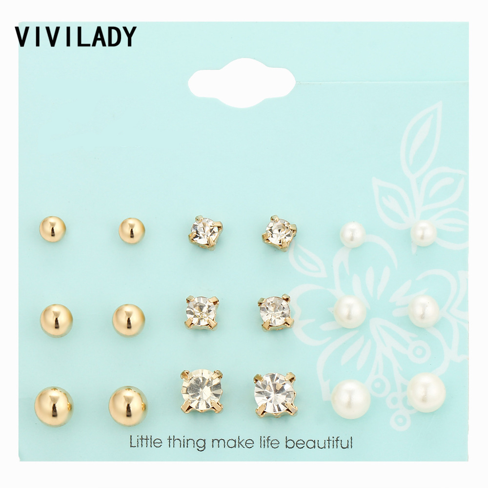 VIVILADY Romantic Cute 9 Pairs set Imitation Pearls Metal Balls font b Crystal b font Nickel