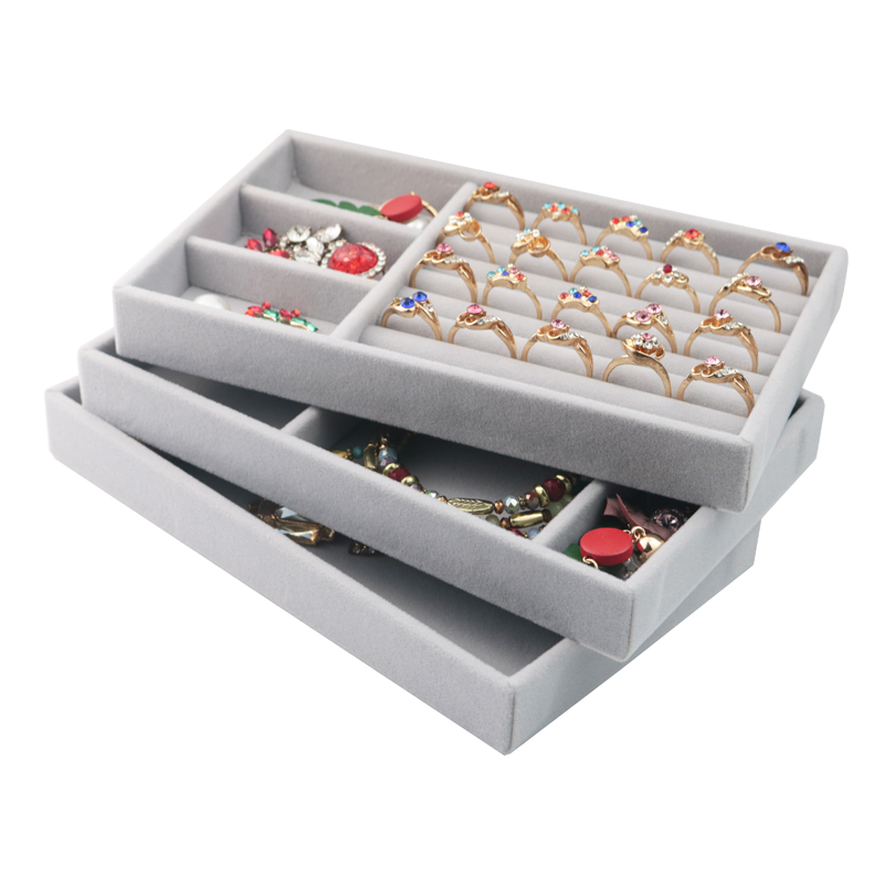 High Quality Fabric Jewelry Box Jewelry Display Holder Bracelet Ring Earring Button Pendant Tray Case Jewelry Storage Organizer