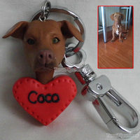 Wedding Cake Topper Personalized Custom clay dolls dog key ring chain keychain for photo handmade keychain dog miniature doll