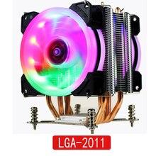 LANSHUO HOT CPU مروحة كاتمة للصوت برودة إنتل X79 LGA2011 المعالج 4 أنابيب الحرارة تبريد وحدة المعالجة المركزية المبرد 2 مروحة