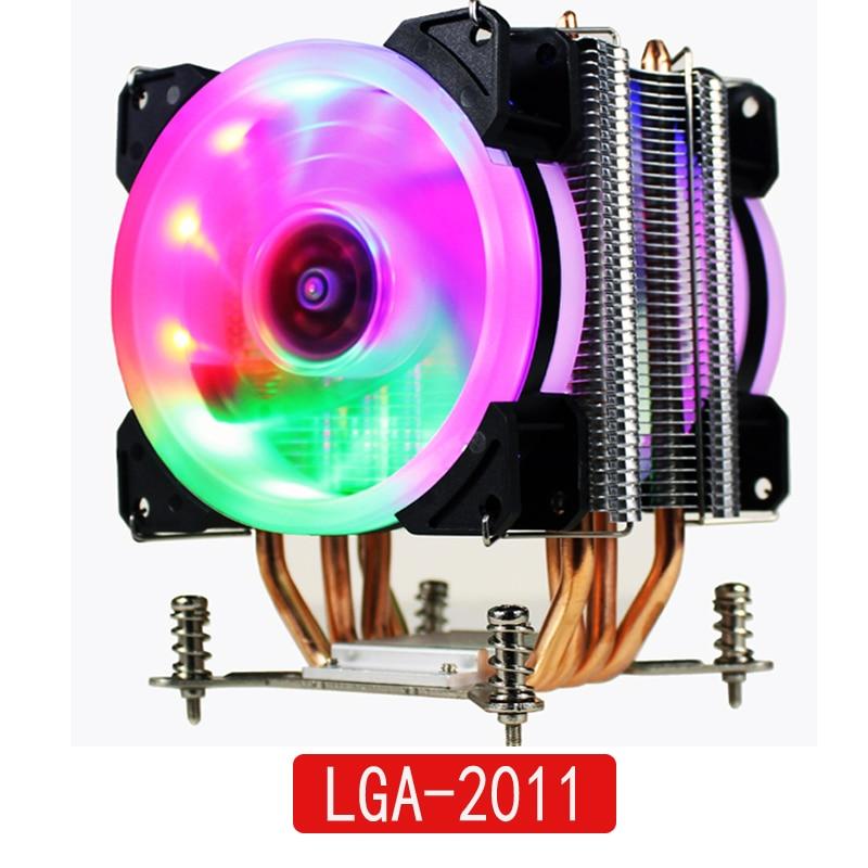 LANSHUO HOT-CPU silencio del ventilador del refrigerador para Intel X79 LGA2011 procesador 4 tubos de calor de refrigeración de la CPU del radiador 2 Fan