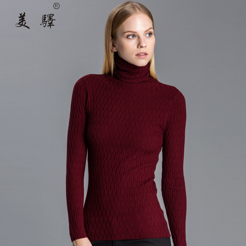 Primavera Otoño Cuello Tejido de Punto Jersey de Cachemira de Cuello Alto Suéter