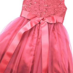 Image 5 - Tiaobug ילדים ילדה פרח שמלות ילדים תחרות ערב שמלות נצנצים תחרה רשת כדור שמלות חתונה ראשית הקודש שמלות