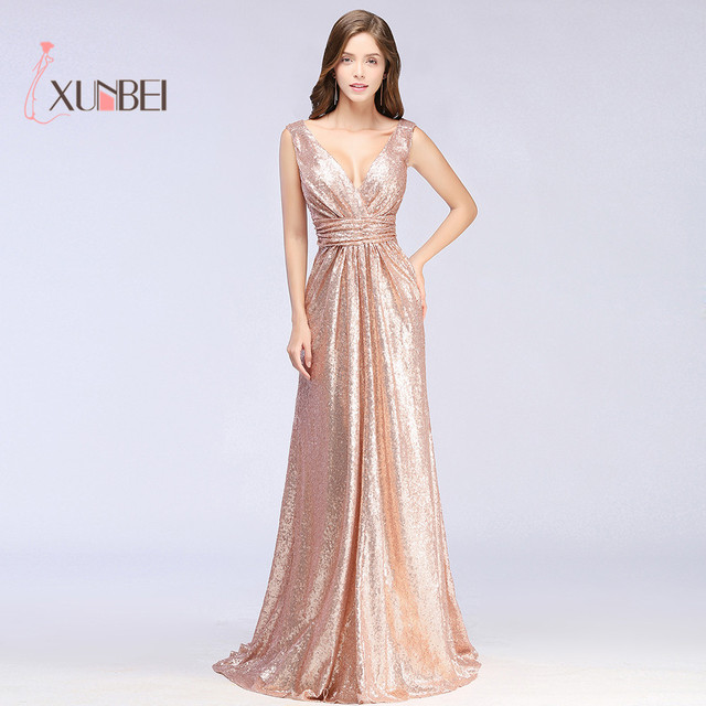 Gold V Neck Sequined Long Evening Dresses Sleeveless Ruched Formal