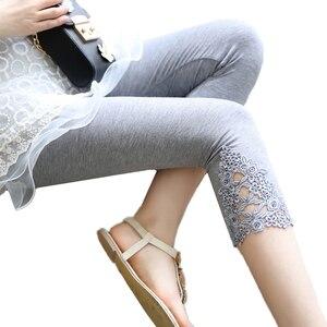 Image 2 - INDJXND Phụ Nữ Mới Giữa Eo Quần Mùa Hè Đầu Gối Rỗng Quần Ren Thời Trang Nữ Quần Dài Cotton Ra Hoa Mỏng Quần Skinny