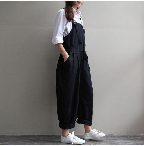 Women Baggy One-Piece Overalls Denim Jeans Bib Trousers Long Pants