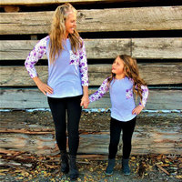 8 Color Mother And Daughter T Shirt Patchwork 2017 Fashion Mother Kids Full Sleeve Family Matching