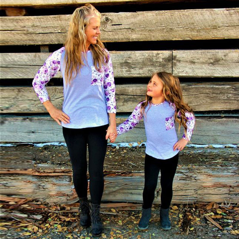 Christmas Mother And Daughter T-shirt Patchwork mother