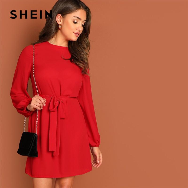 8cfd20e38a SHEIN Keyhole Back Waist Belted A Line Knot Plain Round Neck Dress Women  Autumn Highstreet Fit