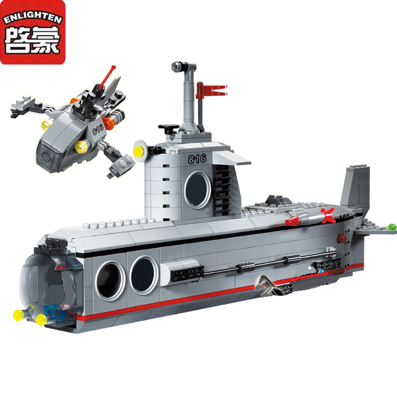 Enlighten Military Submarine U-boat 3D DIY Building Block sets Compatible all brand Army Toys Brinquedos Educational Bricks Gift