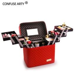 Профессиональная женская косметичка большой емкости, модная косметичка для туалетных принадлежностей, многоуровневая коробка для хранени...