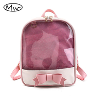 Moon Wood Brand Summer Candy Color PVC Transparent Bow Backpack Flower Zipper Women Clear Daily Backpack
