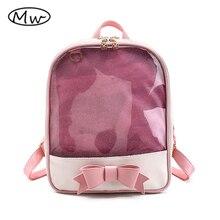 Moon wood марка лето цвета конфеты пвх прозрачный лук рюкзак цветок молнии женщины ясно ежедневно рюкзак девушки мешок школы m621