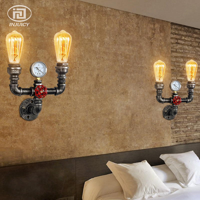Vintage industrial water pipe wall light retro e27 edison wrought vintage industrial water pipe wall light retro e27 edison wrought iron steampunk accent wall lamp with clock for cafe bedside in led indoor wall lamps from aloadofball Gallery