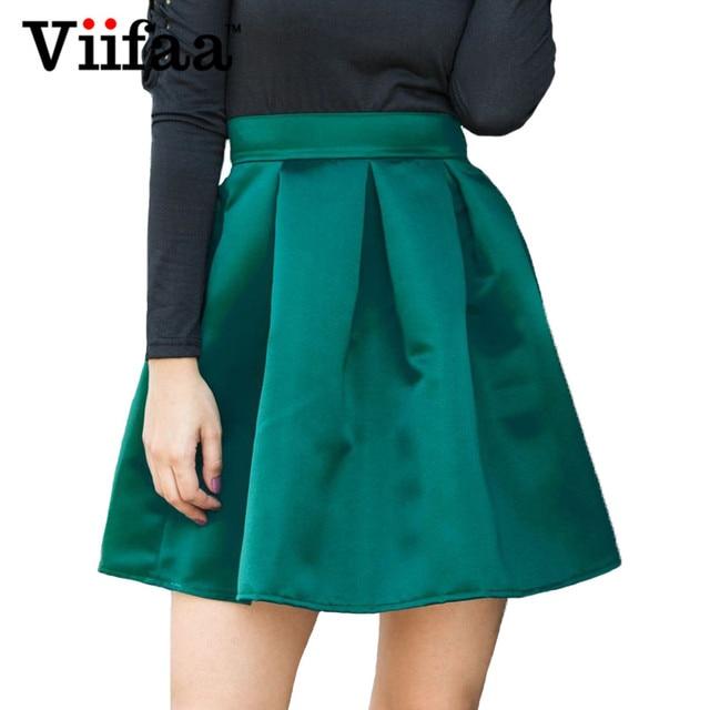 59f1f67f8e Viifaa Green Mini Skirt Silky High Waist School Skirts Womens 2019 Summer  Streetwear A Line Short Pleated Skirt