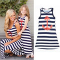 Summer Style Mom + Girl baby Family fitted Navy style Sleeveless Casual Skirt the ankle Blue Striped Mother and daughter Dress