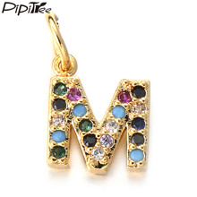 Pipitree Copper Mini Small CZ Zircon Letter Charms fit Bracelet Pendant Necklace DIY A-Z Alphabet Tags Name Charm Jewelry Making(China)
