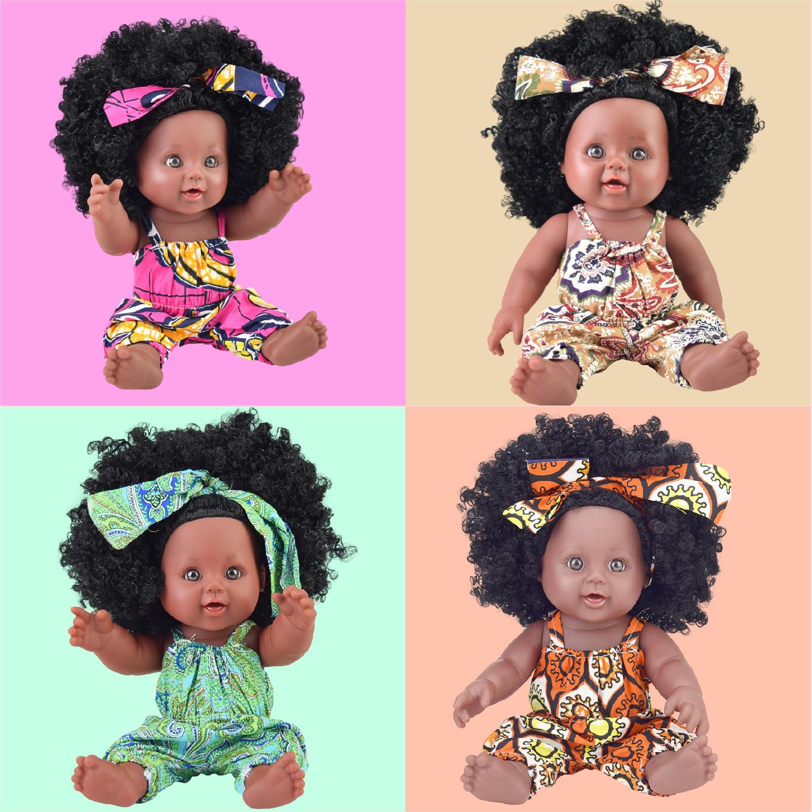 30 pièces/lot en gros 30 cm livraison directe africaine 12 pouces bebek noir afro bébé poupées renaître vinyle silicone poupee poupées bébés-in Poupées from Jeux et loisirs    1