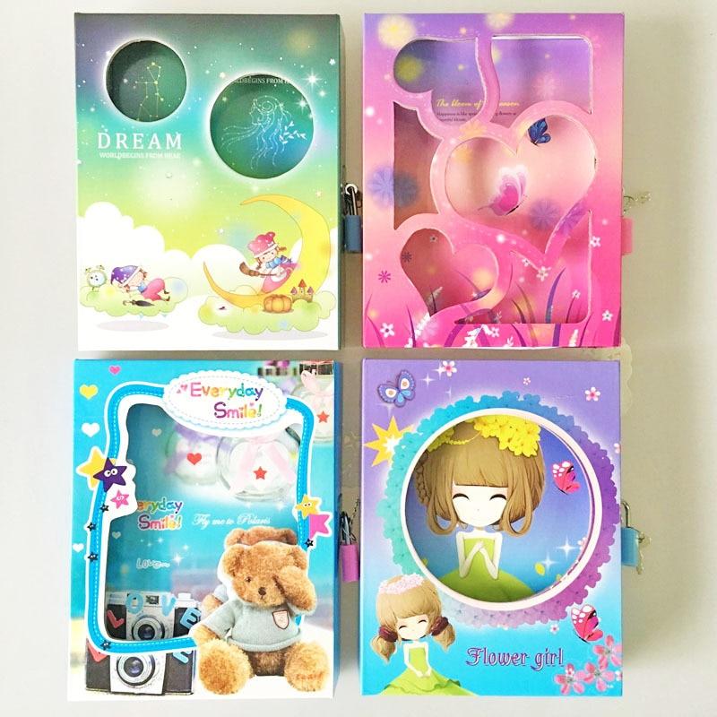 1PC New creative Hard Copybook password notebook student diary can lock princess Beauty girls cartoon gifts school office supply