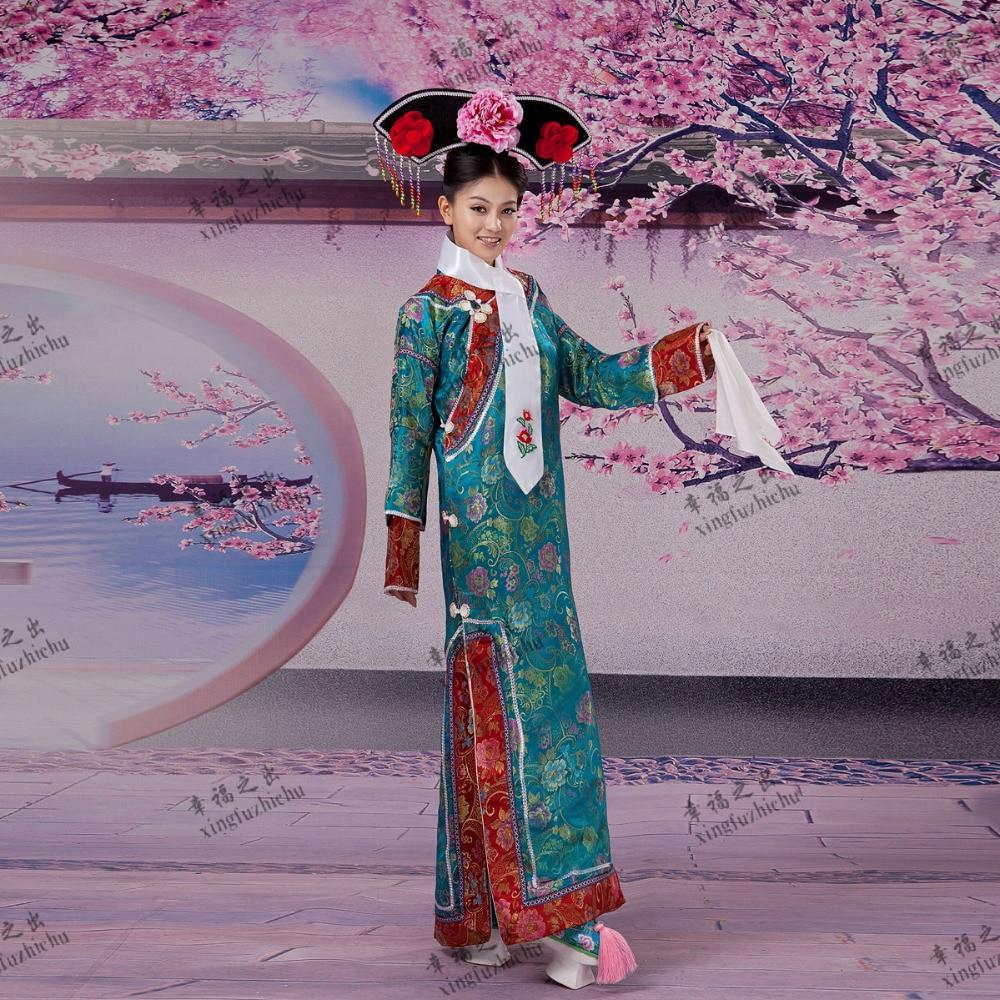 Chinese Ancient Infanta Dramaturgic Dress Dance Wear Photo Dress Qing Dynasty Cheong-sam Princess Dress Cosplay One Size 081801