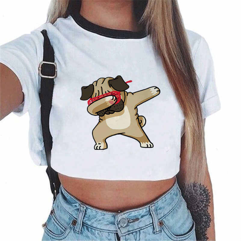 하라주쿠 Tshirt 여성용 여름 탑스 2018 티셔츠 여성 유니콘 프린트 섹시 크롭 탑 반소매 티셔츠 티셔츠 레인보우 셔츠