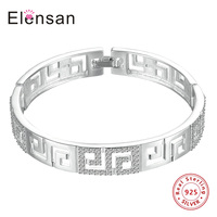 Elensan Real 925 Sterling Silver Hollow Maze Pattern Crystal Bangles Bracelets Bangles For Women Party Jewelry