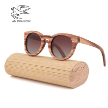 Polarized zebra wood glasses handmade retro wooden frame mens driving sunglasses cool polarized womens bamboo