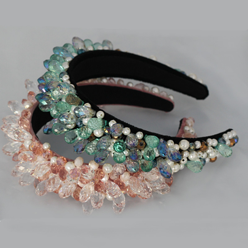Baroque Crown And Tiaras Pink Crystal Beads Shiny Hair Bands Wide Headbands Wedding Hair Jewelry Party Bridal Hair Accessories