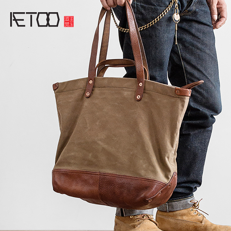 AETOO Street Fashion Cross pack vintage canvas Large capacity handbagTop-Handle Bags   -