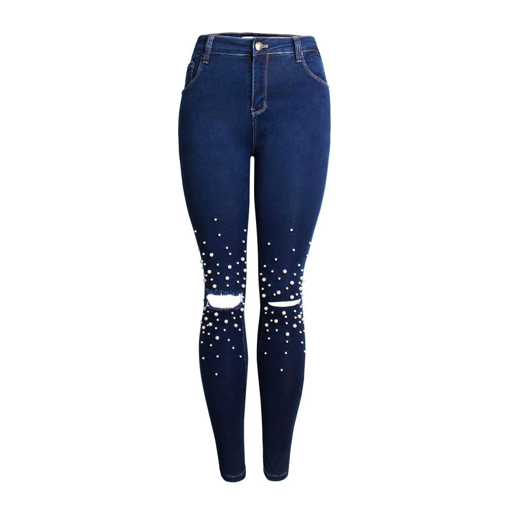 2018 Jeans Pour Femmes Maigre Taille Haute Jeans Perle Perlée Denim Crayon Pantalon Trou Déchiré Femmes Bleu Jeans Pantalon Calca feminina