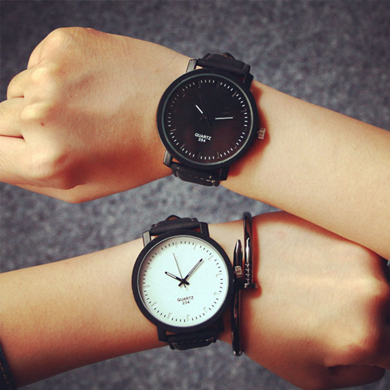 Couple Watches Fashion NEW Watch Round Steel Case  Faux Leather Quartz Analog Wrist Watch DropshippingCouple Watches Fashion NEW Watch Round Steel Case  Faux Leather Quartz Analog Wrist Watch Dropshipping