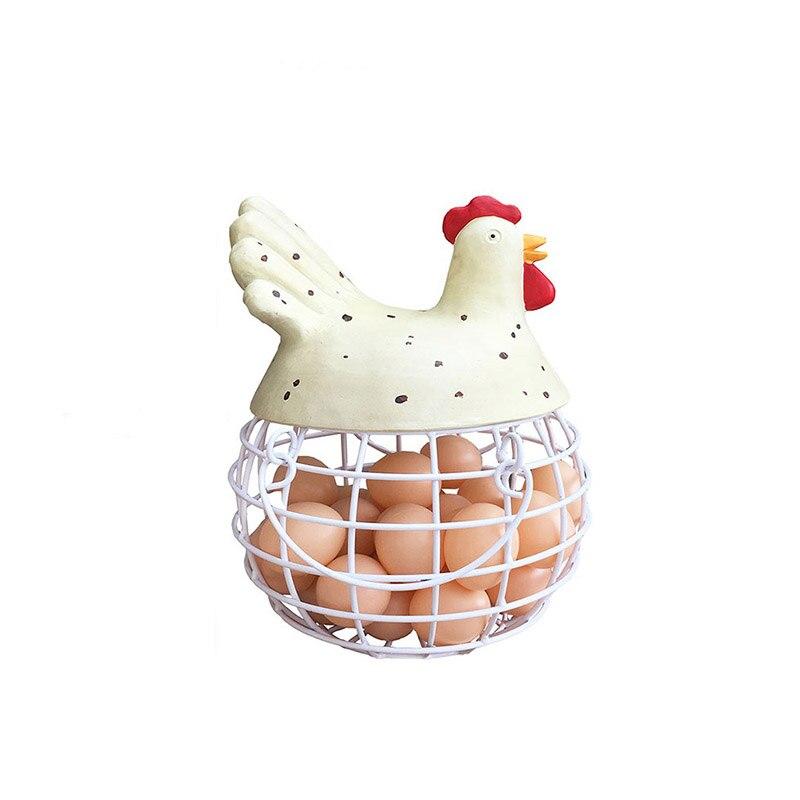 Pays américain en fer forgé Cage à oeufs panier de fruits poulet modèle panier de rangement Simple cuisine fer panier oeuf cadre décoration
