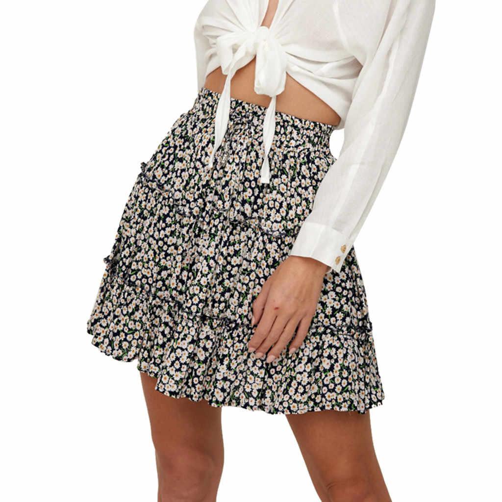 المرأة الصيف عارضة Bohe عالية الخصر تكدرت الأزهار طباعة الشاطئ قصيرة تنورة Falda روك Jupe Etekl faldas موهير مودا 2019 # N45
