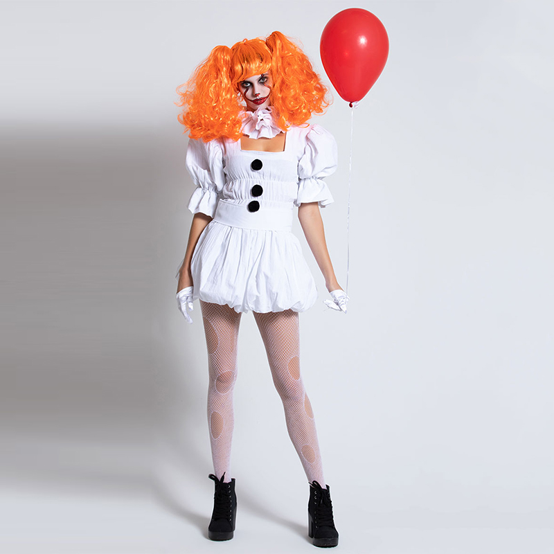 VASHEJIANG White Stephen King's It Cosplay Costume Adult Pennywise Costume Women Sexy Clown Costume For Halloween Outfit Suit