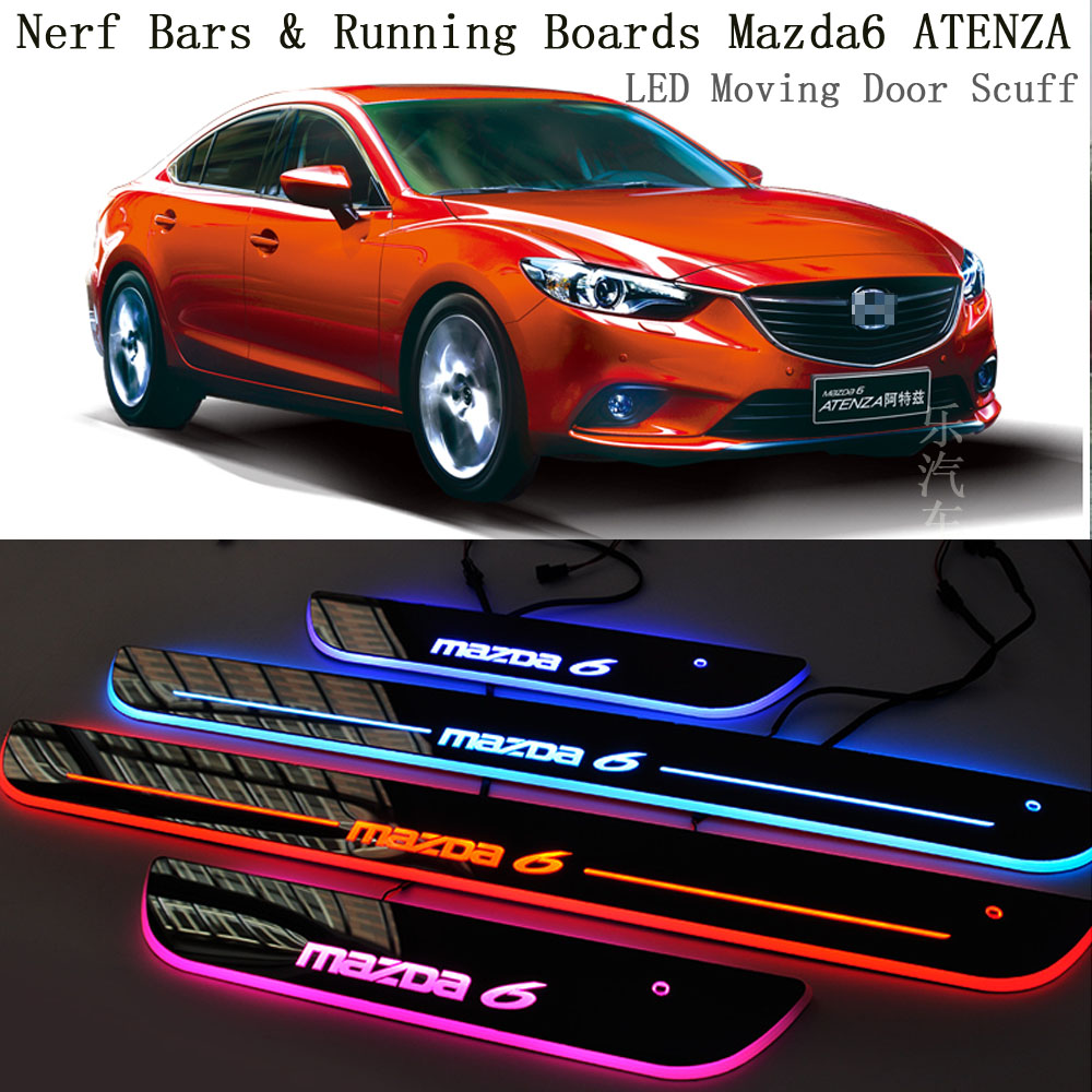 4PCS/Lot Styling Car LED Moving Door Sill Scuff Plate Car-Covers Front Door Pedal For Mazda 6 Atenza Accessories Car Styling car styling welcome pedal led door sill for ford kuga 2013 2014 2015 led moving door scuff plate lighthts front 2pcs accessories