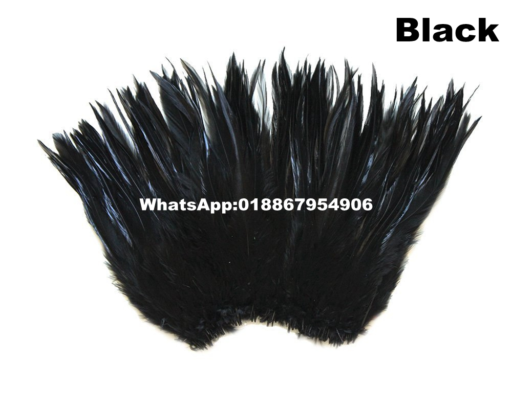 Factory Selected Prime Quality Dyed Black and Natural Chicken Rooster Saddle Feathers Fringe Trim 5 rolls