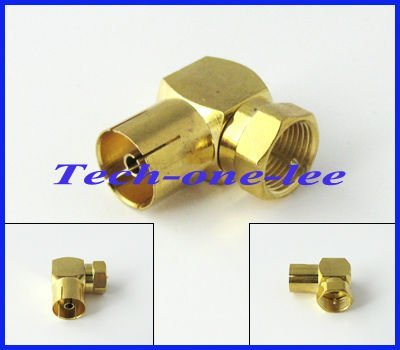 IEC DVB-T TV PAL Female to F Male right angle RF Connector Adapter Converter for Antenna free shipping