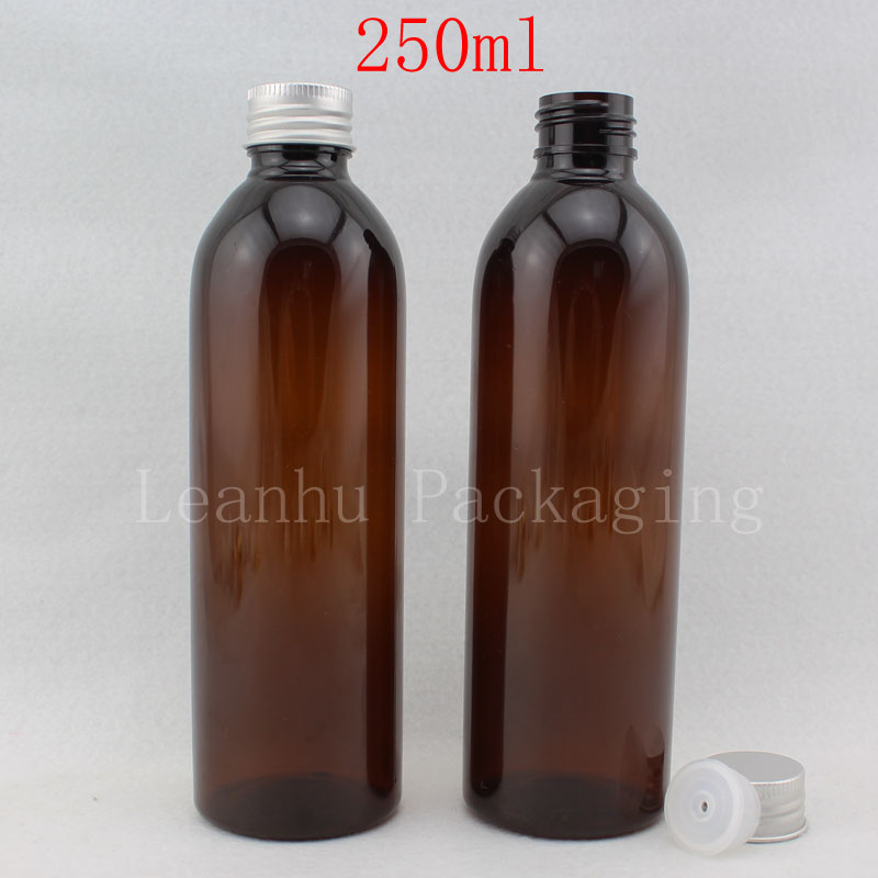 250ML Brown Round Plastic Bottle Aluminum Cap , 250CC Empty Cosmetic  Container , Shower Gel /