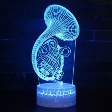 French Horn 3D Night Lamp Sax Musical Instrument Table LED Lights Colorful Acrylic Decoration Lighting Gift For Music Fan