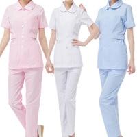 [SET] White powder blue 3 color medical work uniform, female short sleeved summer uniform doll collar nurse clothes
