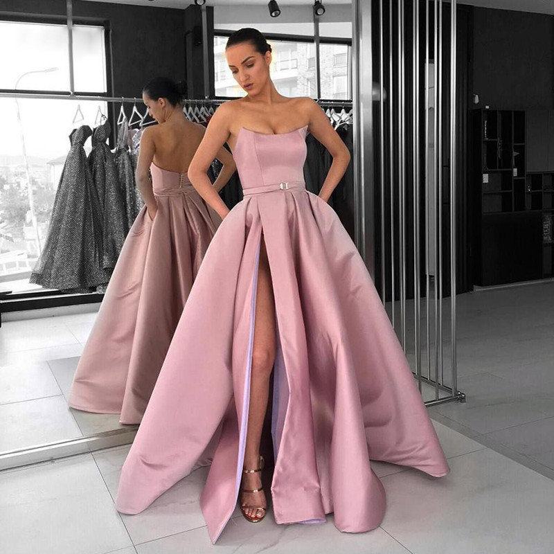 Charming Blush Pink Long Elegant   Prom     Dresses   With Pocket 2019 High Slit Satin   Prom   Gowns Formal Special Occasion Party   Dress