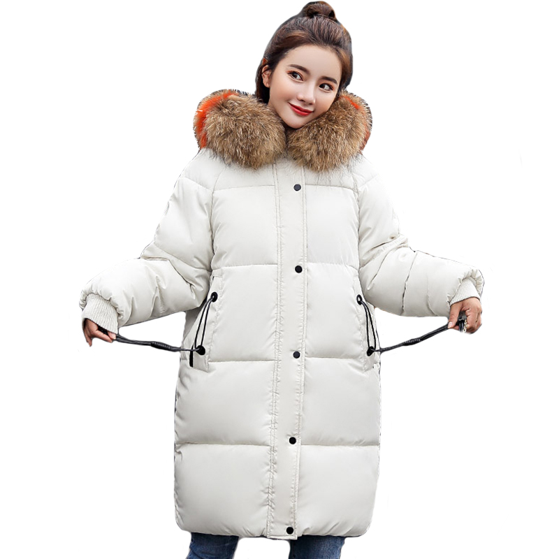 Hooded With Fur Collar Winter Jacket Women Oversize Cotton Padded Ladies Coat Warm Thicken Long   Parka   2019 Fashion Womens